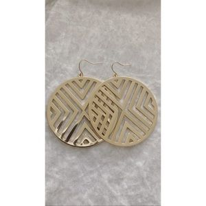 Patterned Circular Gold Earrings